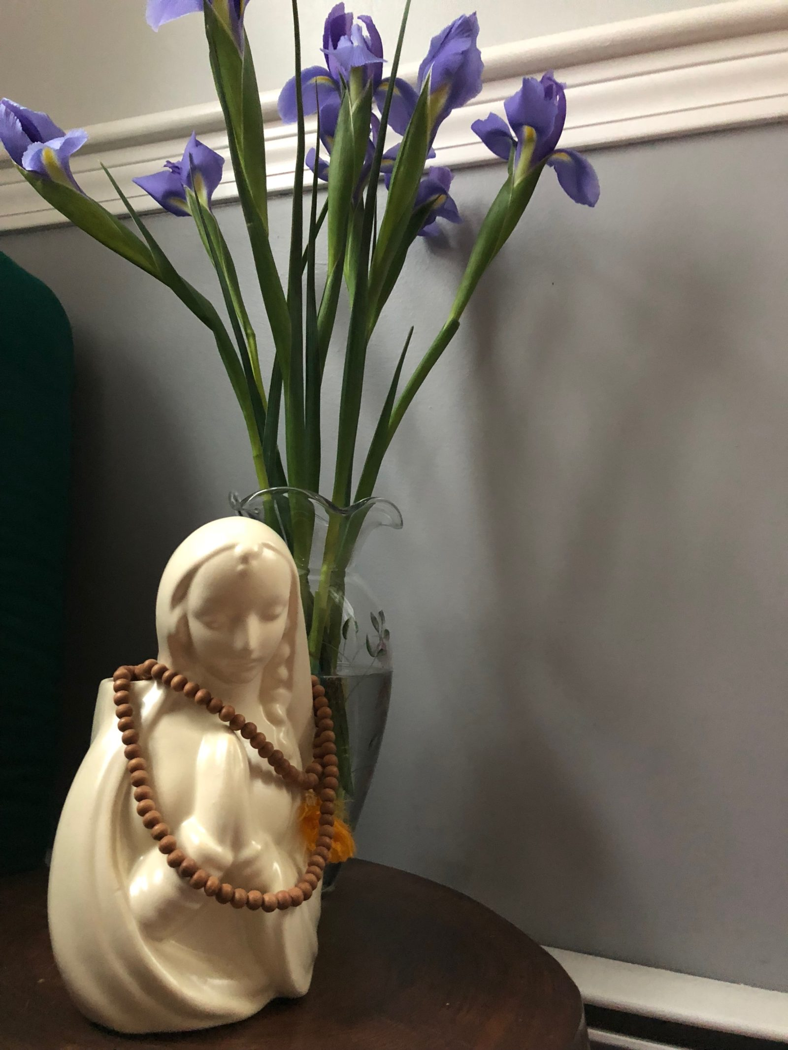 Mother Mary, iris flowers, prayer hands, prayer beads