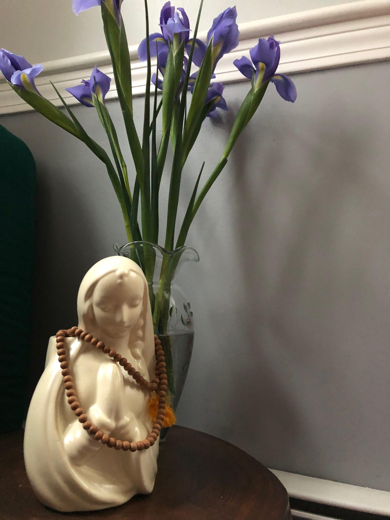 Mother Mary, iris flowers, prayer hands, prayer beads