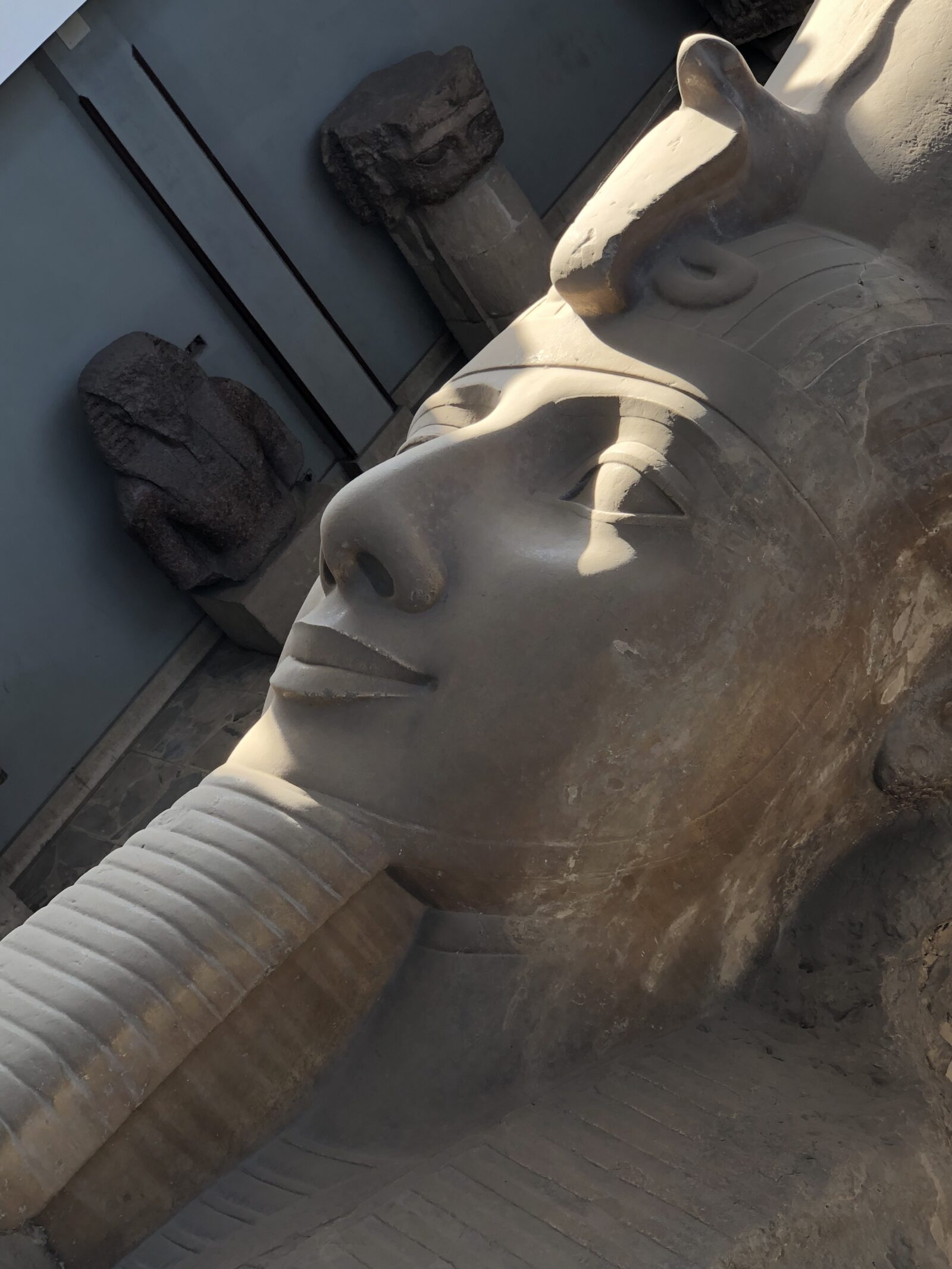 Egyptian King, Ramses II, large head scupture, snake on headdress