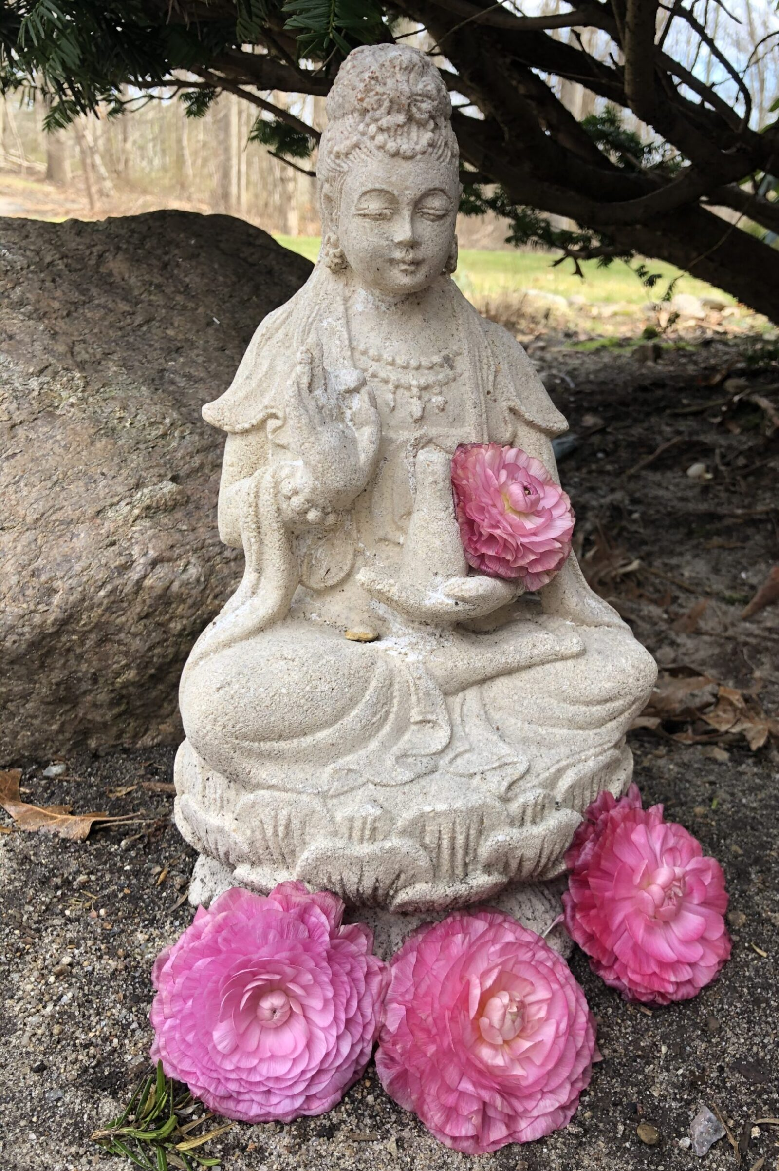 Kuan Yin, Quan Yin, statue, garden, pink flower