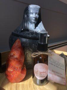 Kingdom alchemy spray, essential oil spray, Egyptian jar, crystals